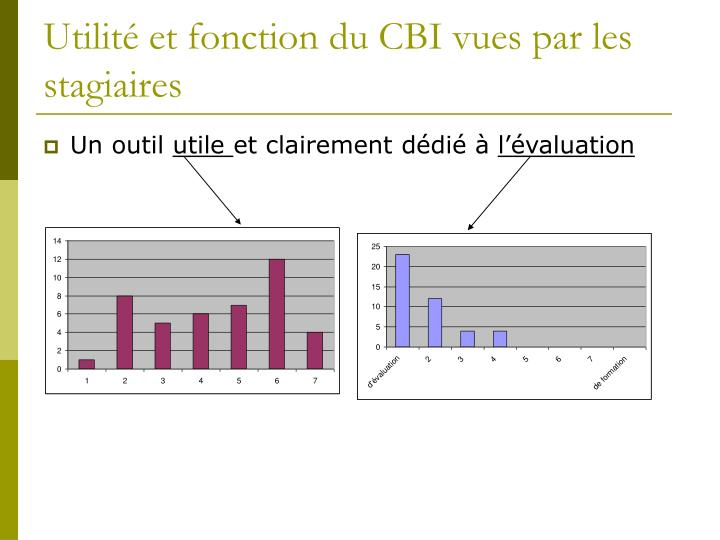 Utilité et fonction du CBI vues par les stagiaires