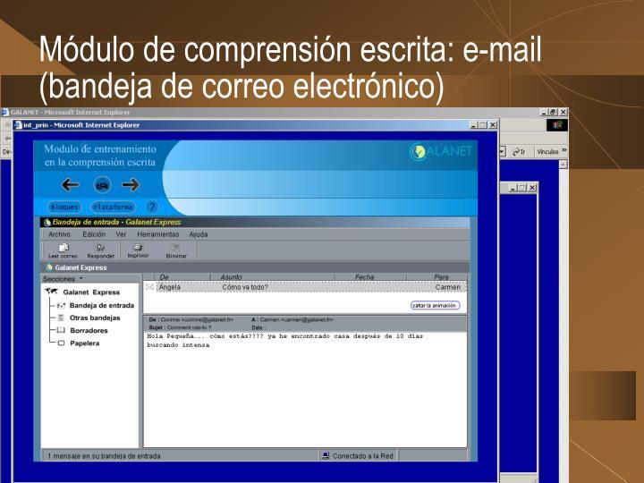 Módulo de comprensión escrita: e-mail