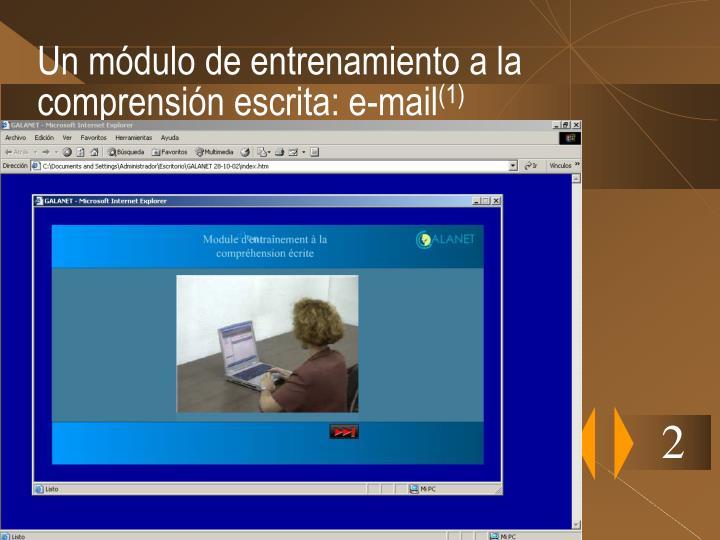 Un módulo de entrenamiento a la comprensión escrita: e-mail