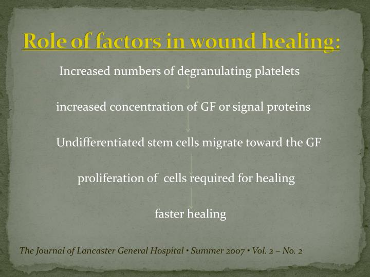 Role of factors in wound healing:
