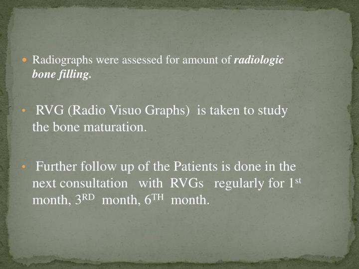 Radiographs were assessed for amount of