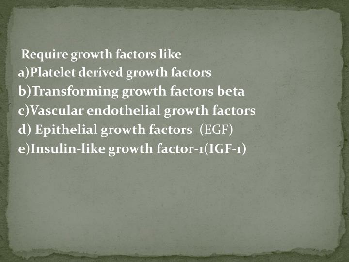 Require growth factors like