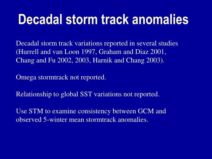Decadal storm track anomalies