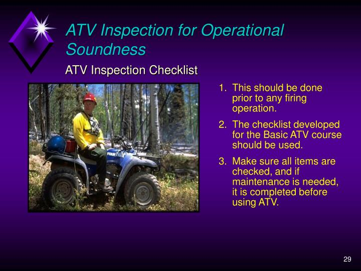 ATV Inspection for Operational Soundness