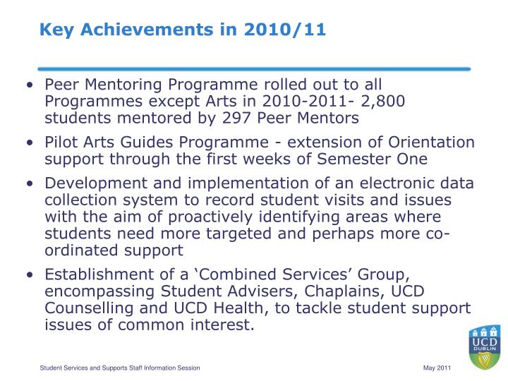 Key Achievements in 2010/11