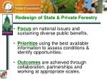 redesign of state private forestry