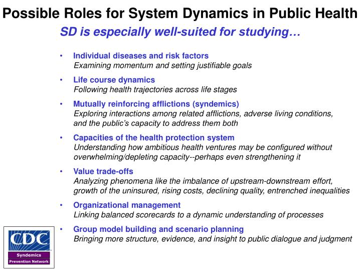 Possible Roles for System Dynamics in Public Health