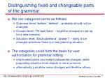 distinguishing fixed and changeable parts of the grammar