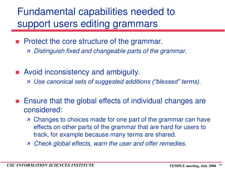 Fundamental capabilities needed to support users editing grammars
