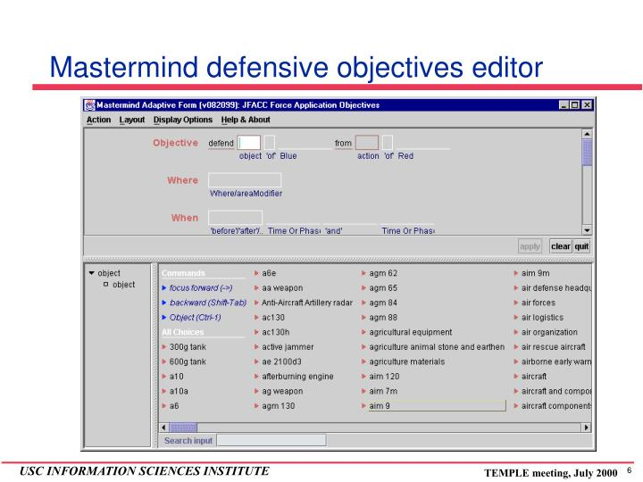 Mastermind defensive objectives editor