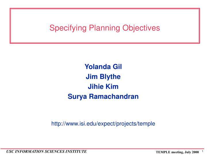Specifying planning objectives