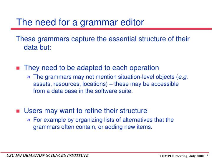 The need for a grammar editor