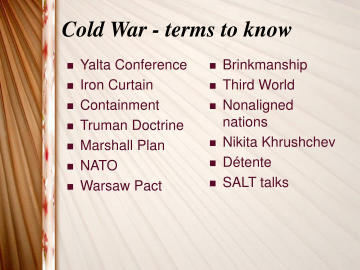 Cold war terms to know