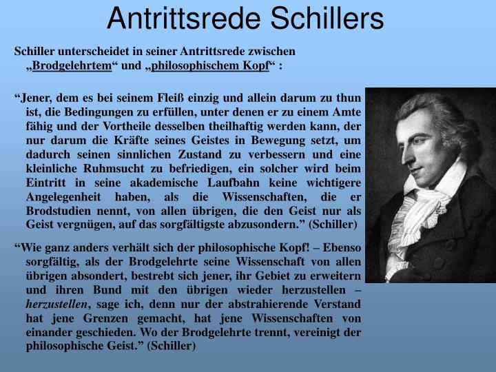 """Schiller unterscheidet in seiner Antrittsrede zwischen """""""