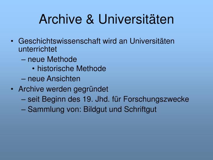 Archive & Universitäten