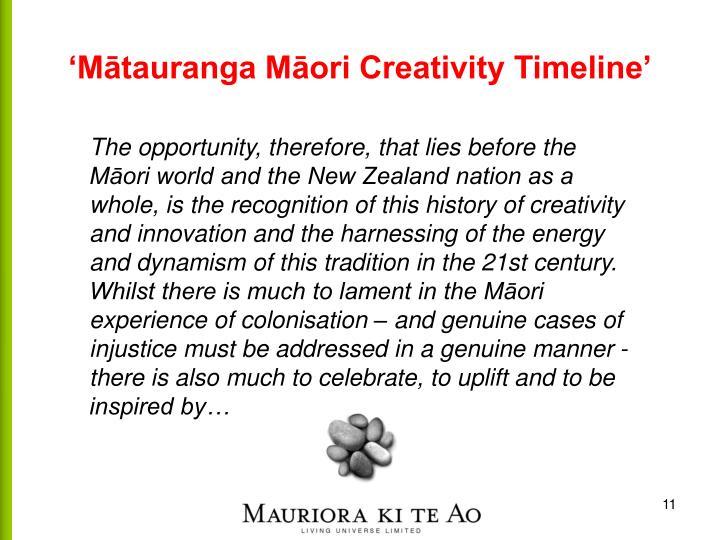 'Mātauranga Māori Creativity Timeline'
