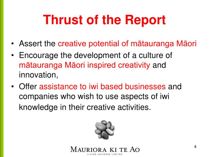 Thrust of the Report