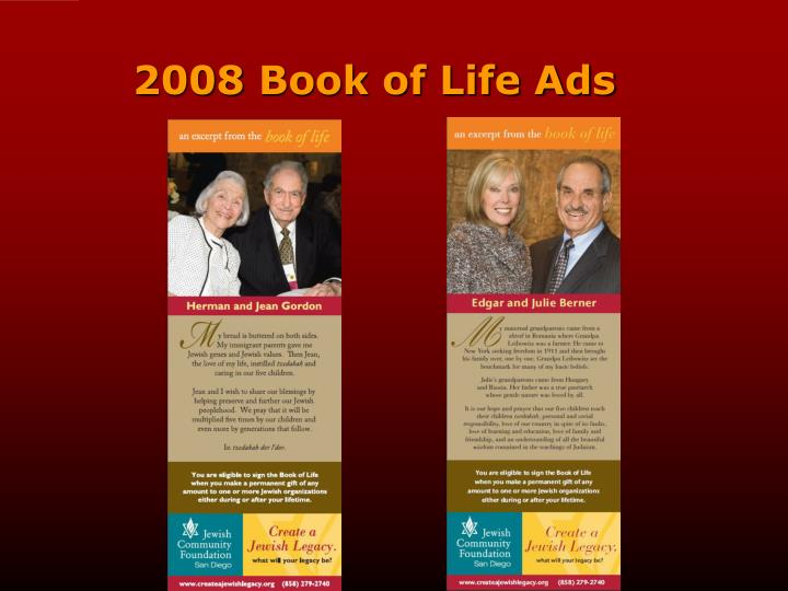 2008 Book of Life Ads