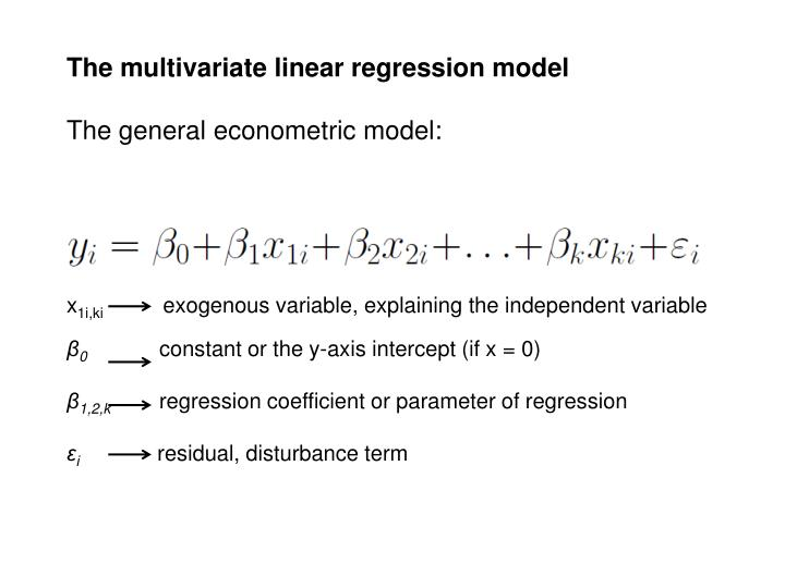 The multivariate linear regression model