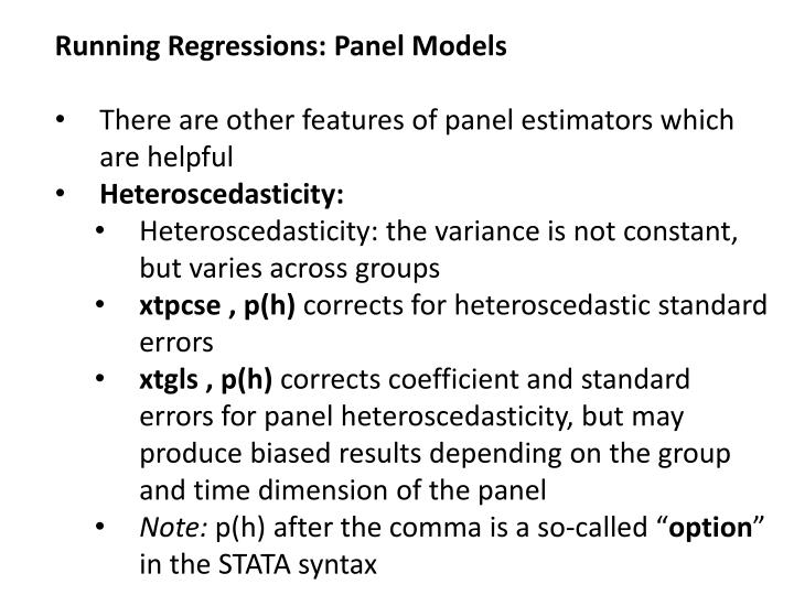 Running Regressions: Panel Models