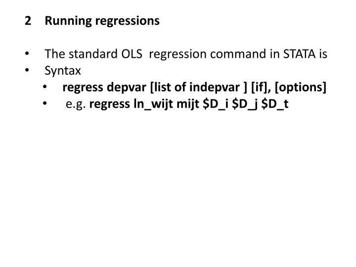 2Running regressions