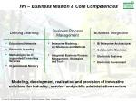 iwi business mission core competencies