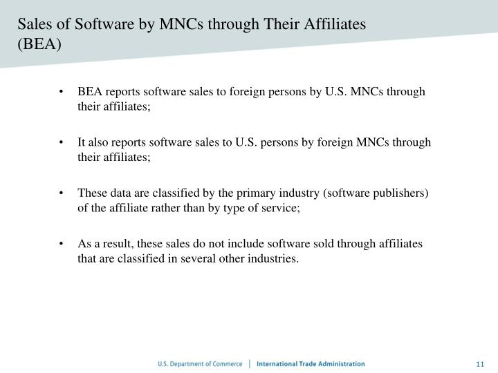 Sales of Software by MNCs through Their Affiliates (BEA)