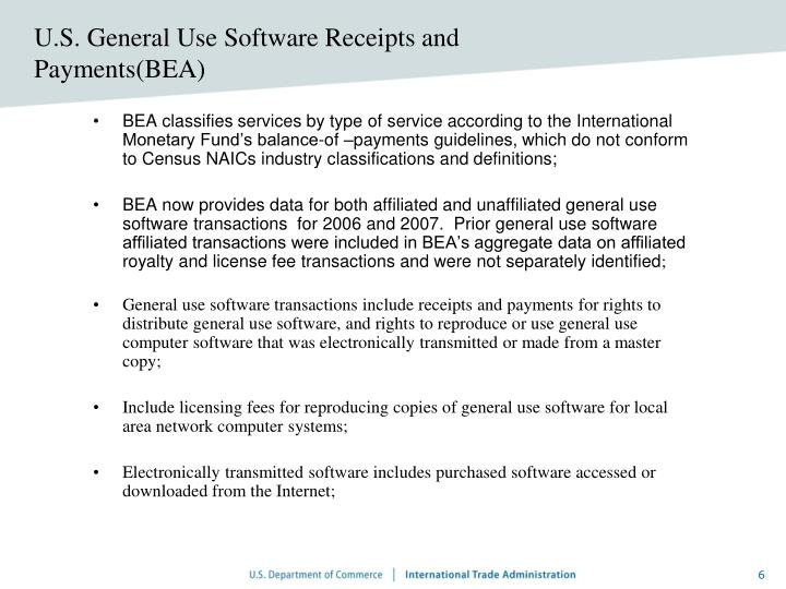U.S. General Use Software Receipts and Payments(BEA)