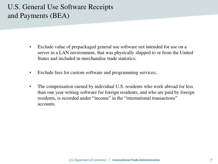 U.S. General Use Software Receipts