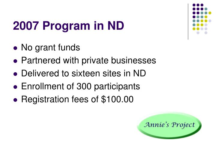 2007 Program in ND