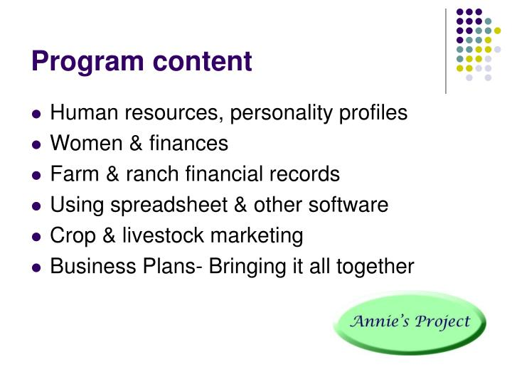Program content
