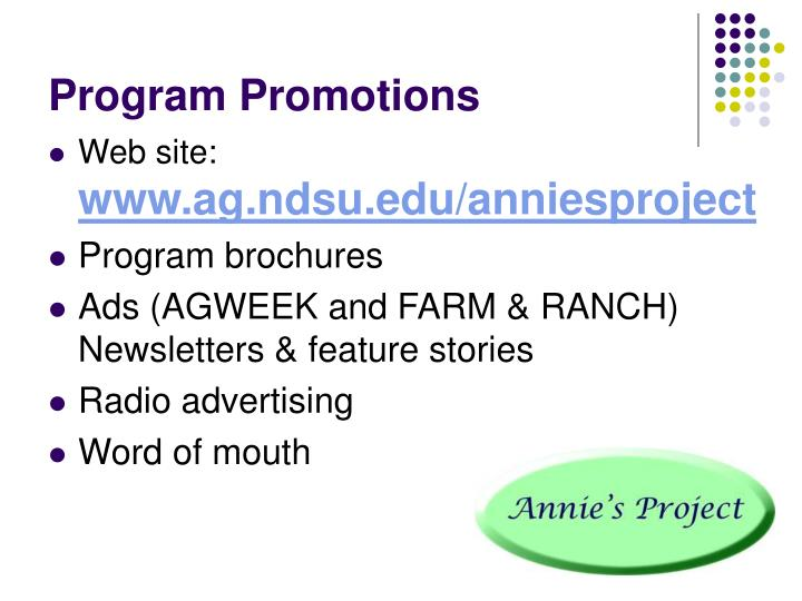 Program Promotions