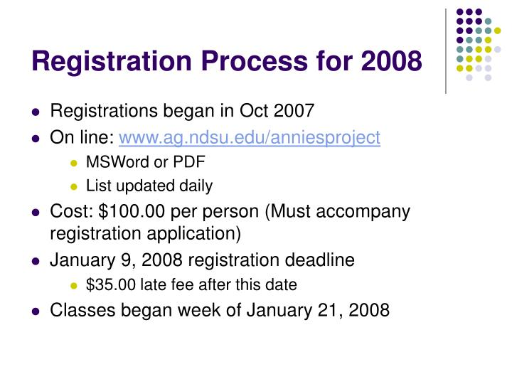 Registration Process for 2008
