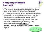 what past participants have said