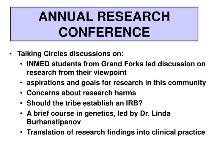 ANNUAL RESEARCH CONFERENCE
