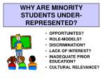why are minority students under represented