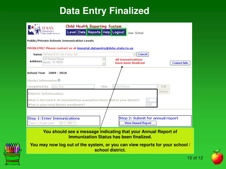 Data Entry Finalized