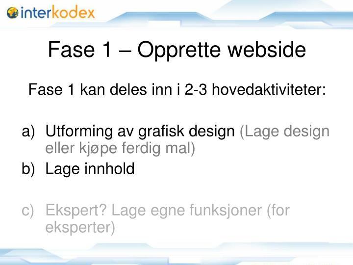 Fase 1 – Opprette webside