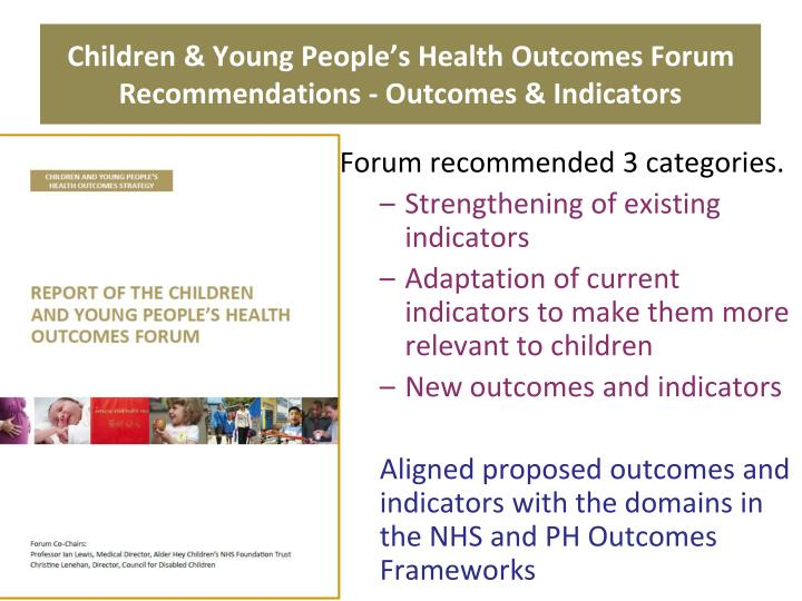 Children & Young People's Health Outcomes Forum