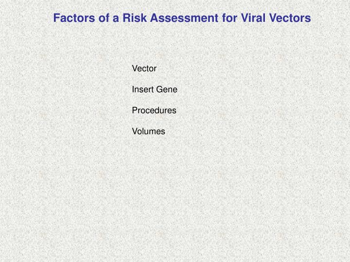 Factors of a Risk Assessment for Viral Vectors