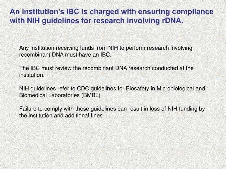 An institution's IBC is charged with ensuring compliance with NIH guidelines for research involving rDNA.