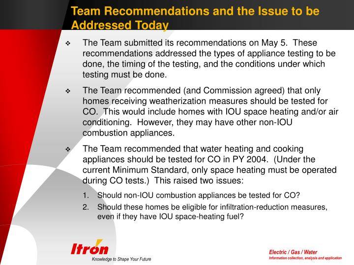 Team Recommendations and the Issue to be Addressed Today
