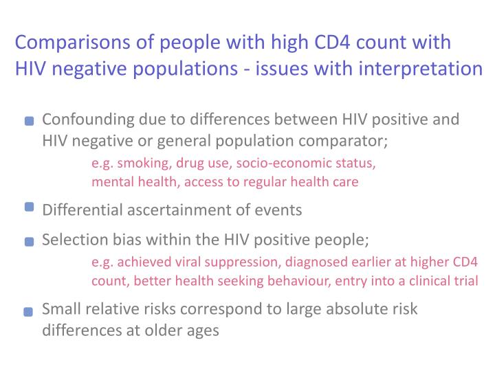 Comparisons of people with high CD4 count with HIV negative