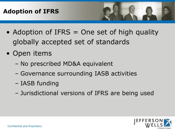 Adoption of IFRS