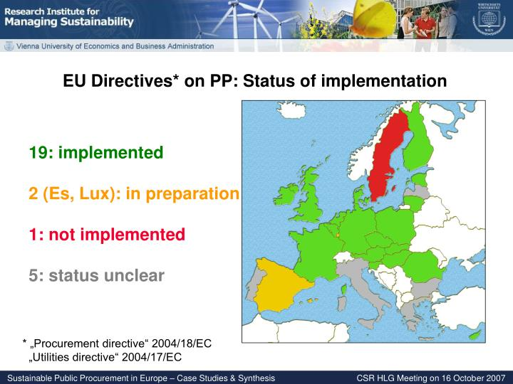 EU Directives* on PP: Status of implementation