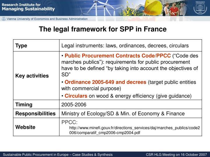 The legal framework for SPP in France
