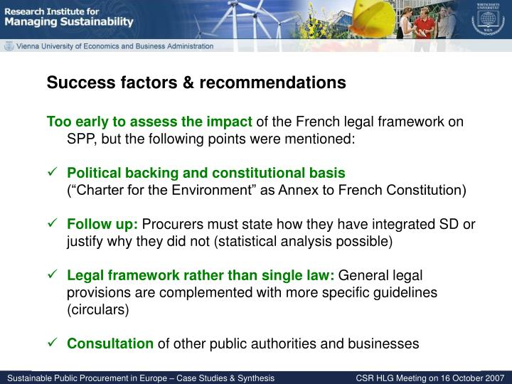 Success factors & recommendations