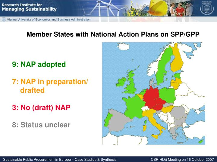 Member States with National Action Plans on SPP/GPP
