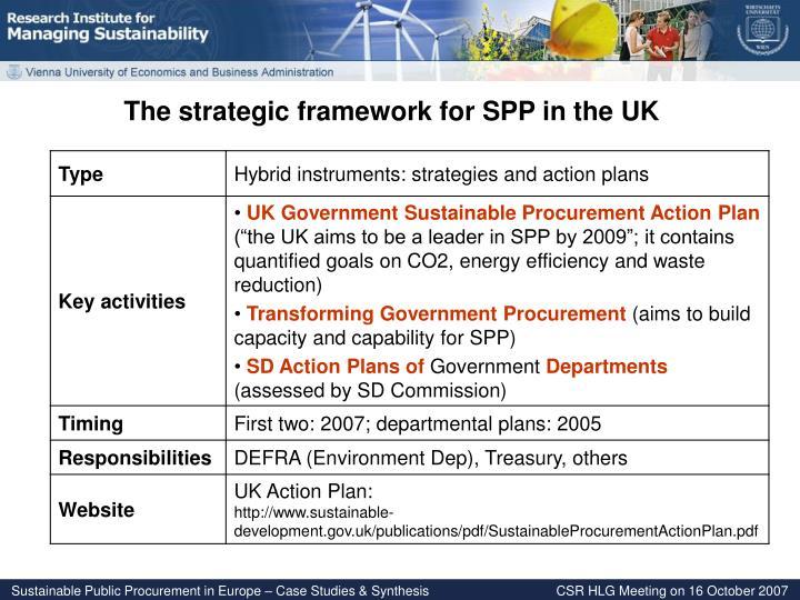 The strategic framework for SPP in the UK