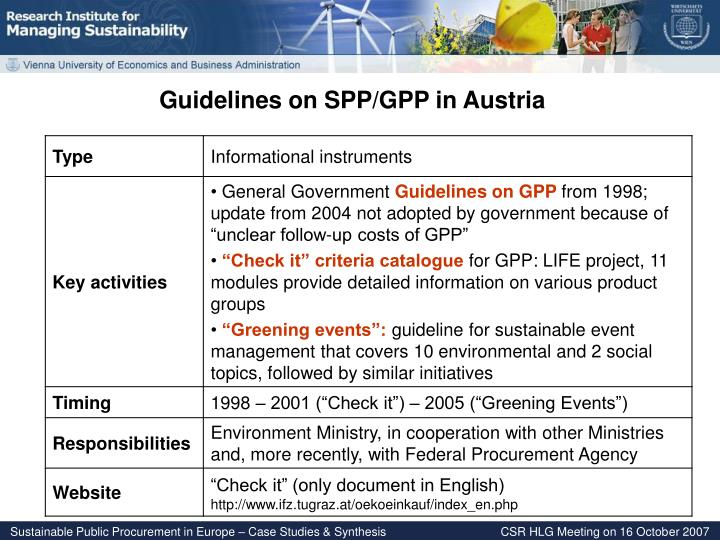 Guidelines on SPP/GPP in Austria